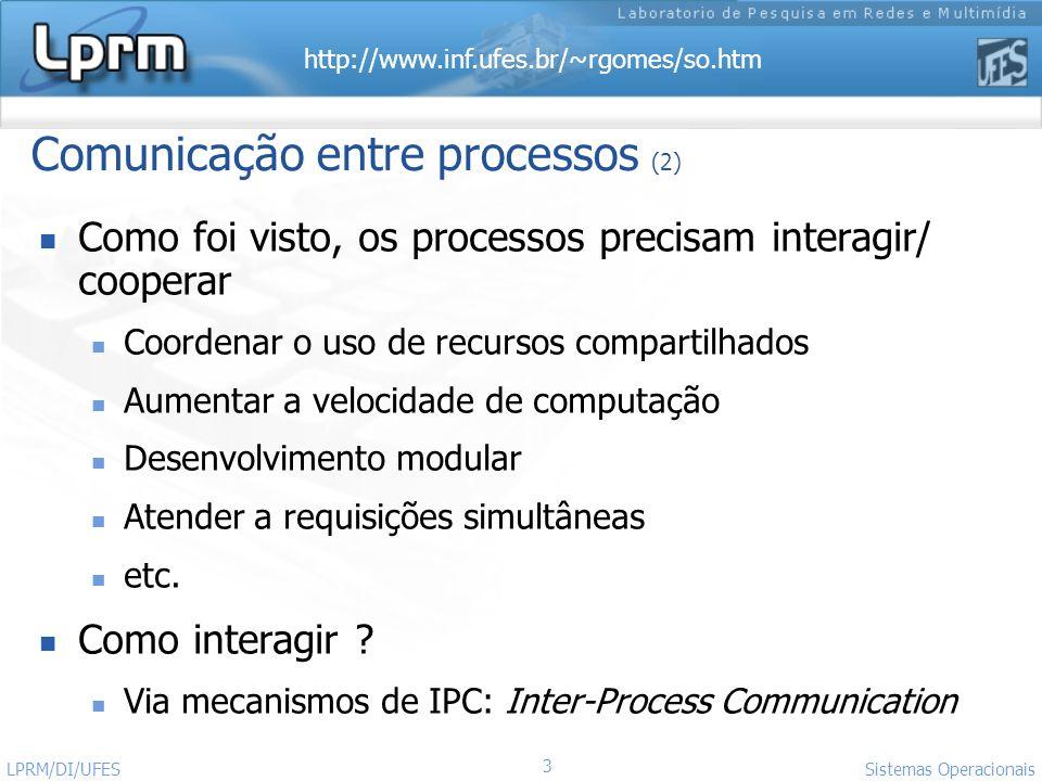 http://www.inf.ufes.br/~rgomes/so.htm 4 Sistemas Operacionais LPRM/DI/UFES Comunicação entre processos (3) Ocorre através do S.O.
