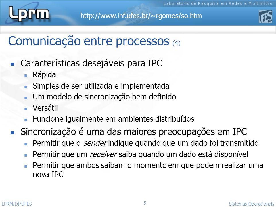 http://www.inf.ufes.br/~rgomes/so.htm 5 Sistemas Operacionais LPRM/DI/UFES Comunicação entre processos (4) Características desejáveis para IPC Rápida