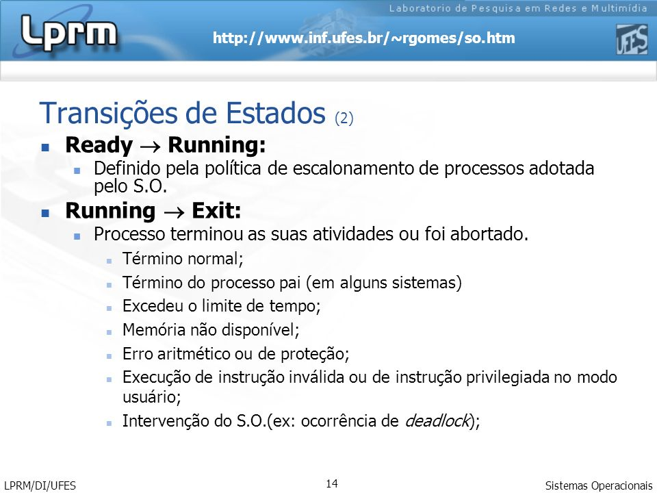 http://www.inf.ufes.br/~rgomes/so.htm Sistemas Operacionais LPRM/DI/UFES 14 Transições de Estados (2) Ready Running: Definido pela política de escalon