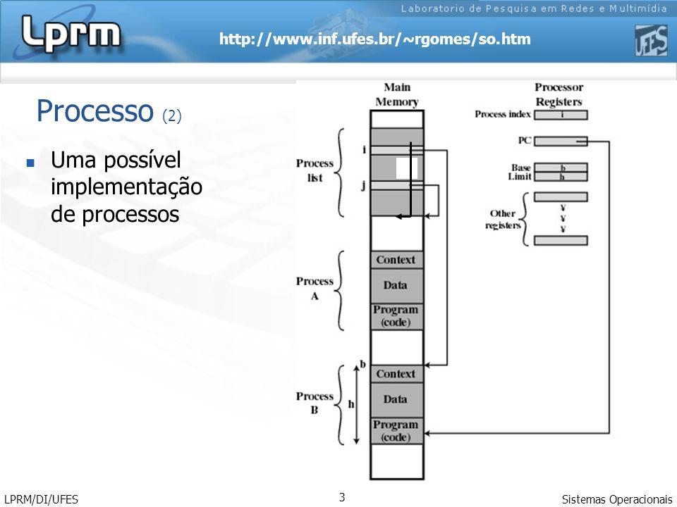 http://www.inf.ufes.br/~rgomes/so.htm Sistemas Operacionais LPRM/DI/UFES 4 Processo (3) Do ponto de vista da UCP, um processo executa instruções do seu repertório em alguma seqüência ditada pelos valores do registrador PC (program counter).