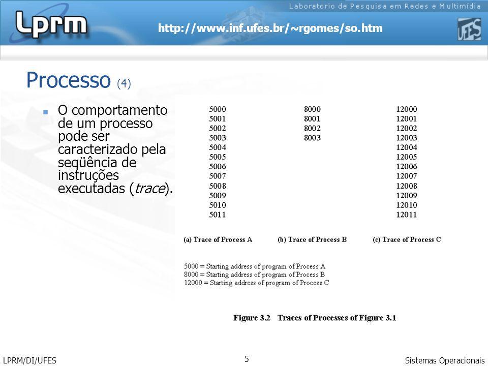 http://www.inf.ufes.br/~rgomes/so.htm Sistemas Operacionais LPRM/DI/UFES 6 Processo (5) A multiprogramação pressupõe a existência de vários processos disputando o processador.