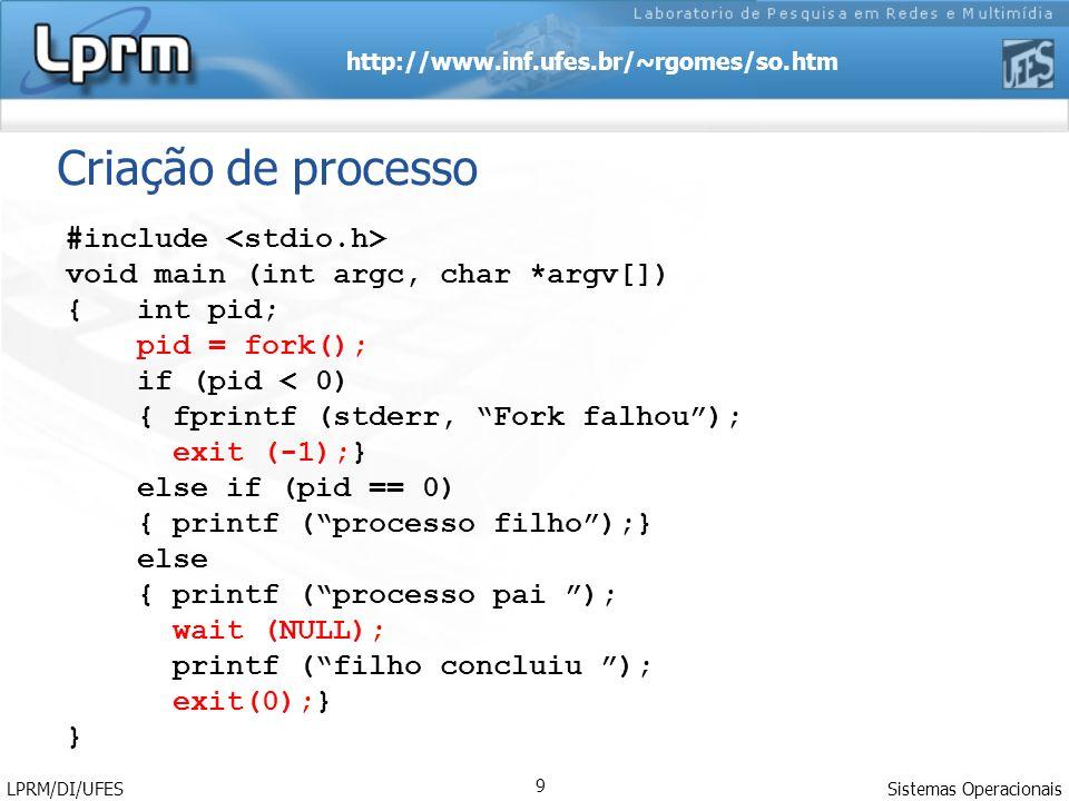 http://www.inf.ufes.br/~rgomes/so.htm Sistemas Operacionais LPRM/DI/UFES 9 Criação de processo #include void main (int argc, char *argv[]) { int pid;