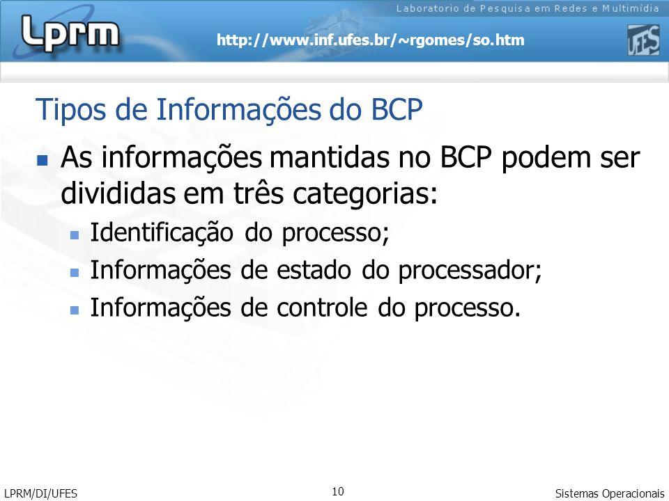 http://www.inf.ufes.br/~rgomes/so.htm Sistemas Operacionais LPRM/DI/UFES 10 Tipos de Informações do BCP As informações mantidas no BCP podem ser divid