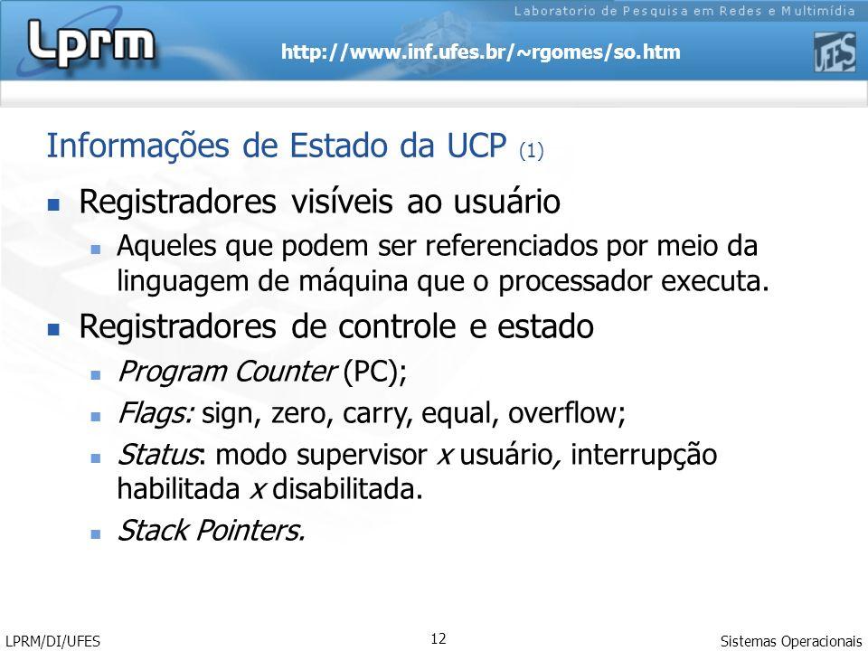 http://www.inf.ufes.br/~rgomes/so.htm Sistemas Operacionais LPRM/DI/UFES 12 Registradores visíveis ao usuário Aqueles que podem ser referenciados por