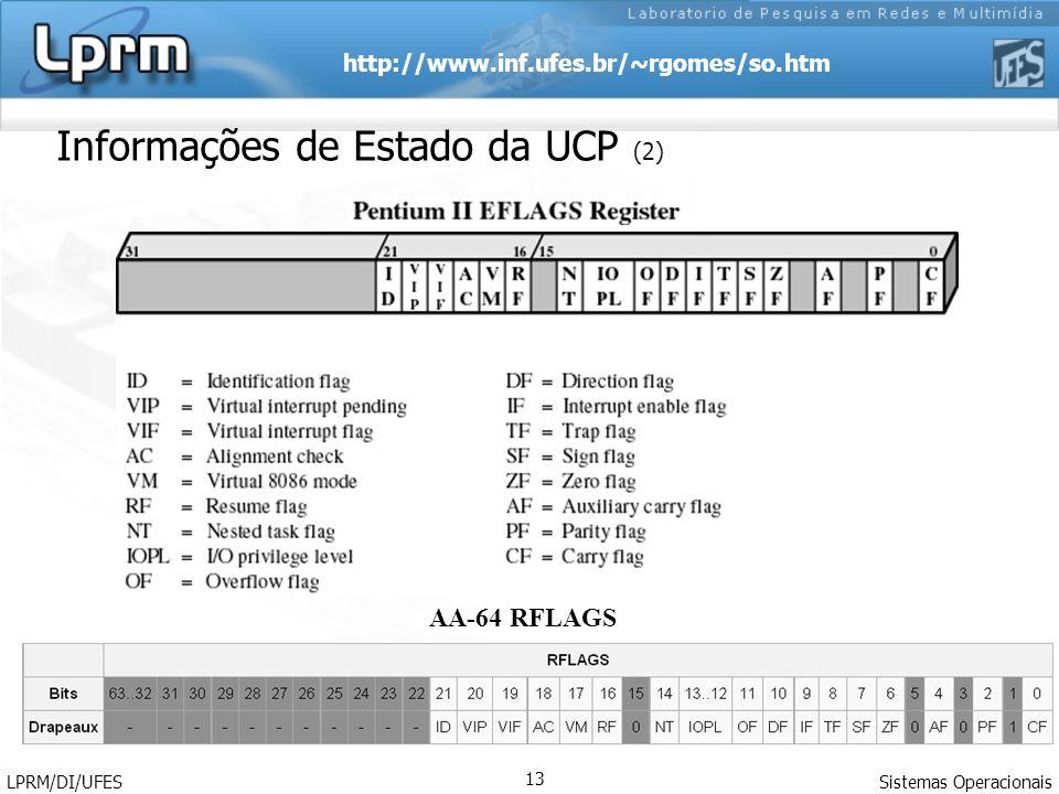 http://www.inf.ufes.br/~rgomes/so.htm Sistemas Operacionais LPRM/DI/UFES 13 Informações de Estado da UCP (2) AA-64 RFLAGS