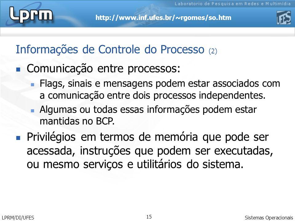 http://www.inf.ufes.br/~rgomes/so.htm Sistemas Operacionais LPRM/DI/UFES 15 Comunicação entre processos: Flags, sinais e mensagens podem estar associa