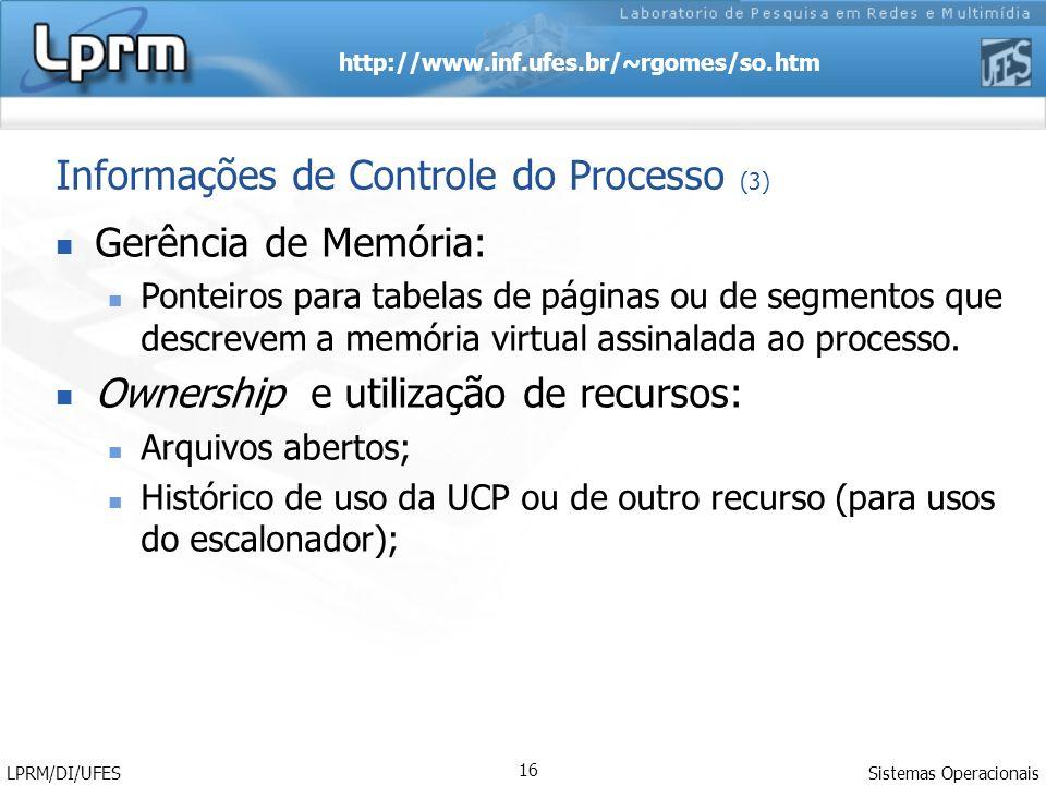 http://www.inf.ufes.br/~rgomes/so.htm Sistemas Operacionais LPRM/DI/UFES 16 Gerência de Memória: Ponteiros para tabelas de páginas ou de segmentos que