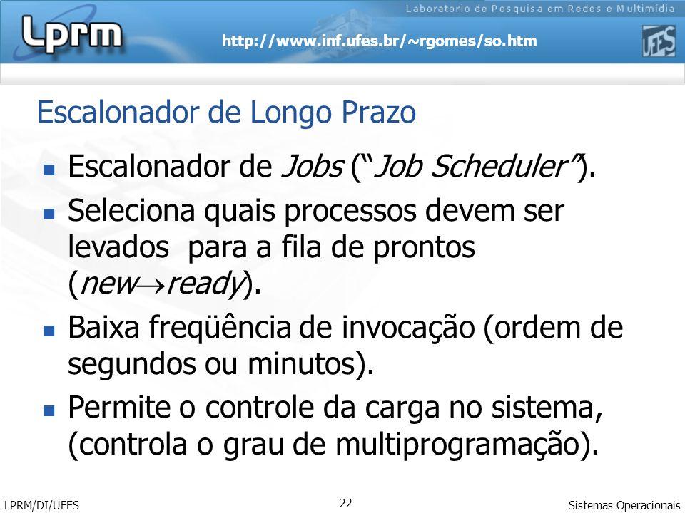 http://www.inf.ufes.br/~rgomes/so.htm Sistemas Operacionais LPRM/DI/UFES 22 Escalonador de Longo Prazo Escalonador de Jobs (Job Scheduler). Seleciona