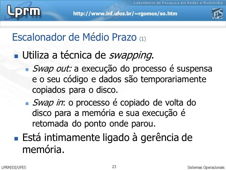 http://www.inf.ufes.br/~rgomes/so.htm Sistemas Operacionais LPRM/DI/UFES 23 Escalonador de Médio Prazo (1) Utiliza a técnica de swapping. Swap out: a