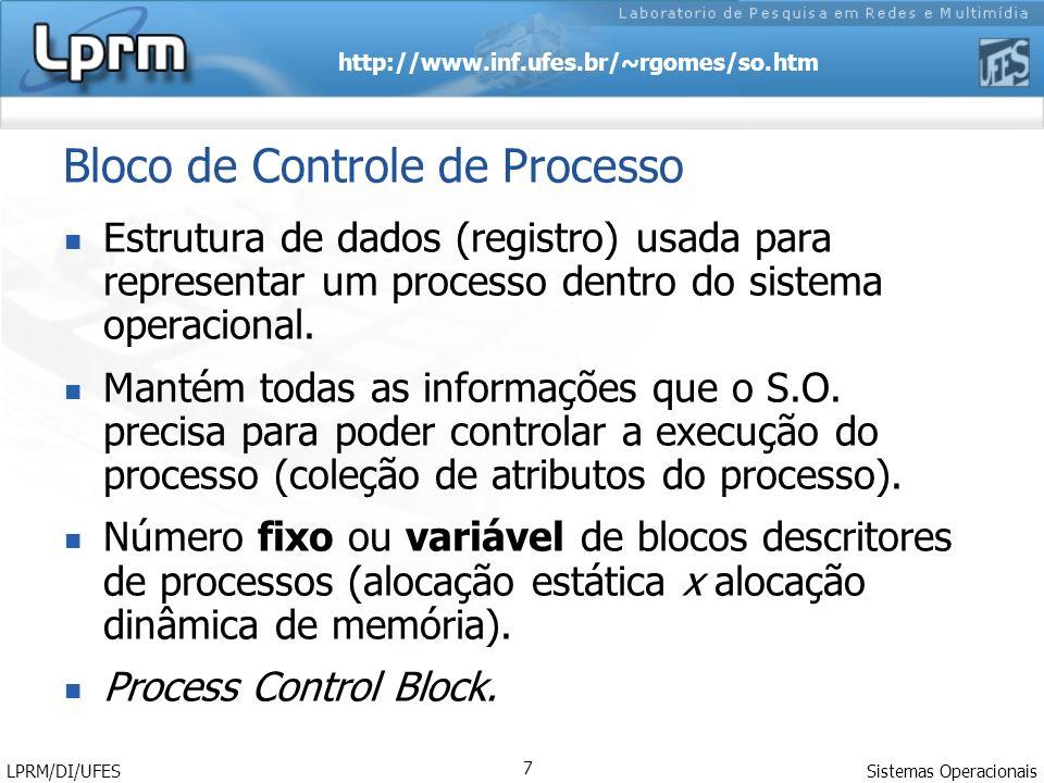 http://www.inf.ufes.br/~rgomes/so.htm Sistemas Operacionais LPRM/DI/UFES 7 Bloco de Controle de Processo Estrutura de dados (registro) usada para repr