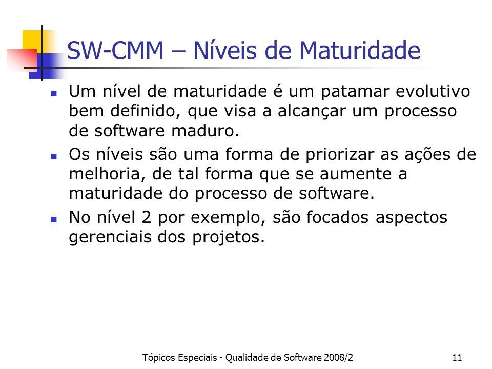Tópicos Especiais - Qualidade de Software 2008/211 SW-CMM – Níveis de Maturidade Um nível de maturidade é um patamar evolutivo bem definido, que visa