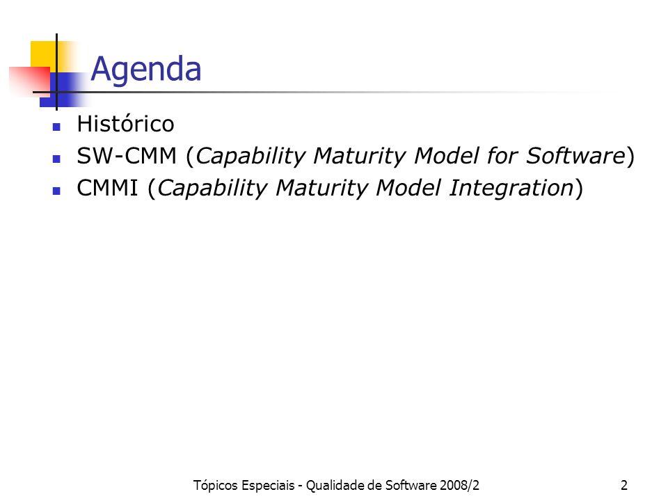 Tópicos Especiais - Qualidade de Software 2008/23 Histórico O SW-CMM (Capability Maturity Model for Software) é um modelo de capacitação de processos de software, desenvolvido pelo SEI (Software Engineering Institute) e patrocinado pelo Departamento de Defesa Americano (DoD), para a avaliação da capacidade dos fornecedores de software deste último.