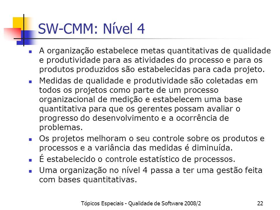 Tópicos Especiais - Qualidade de Software 2008/222 SW-CMM: Nível 4 A organização estabelece metas quantitativas de qualidade e produtividade para as a