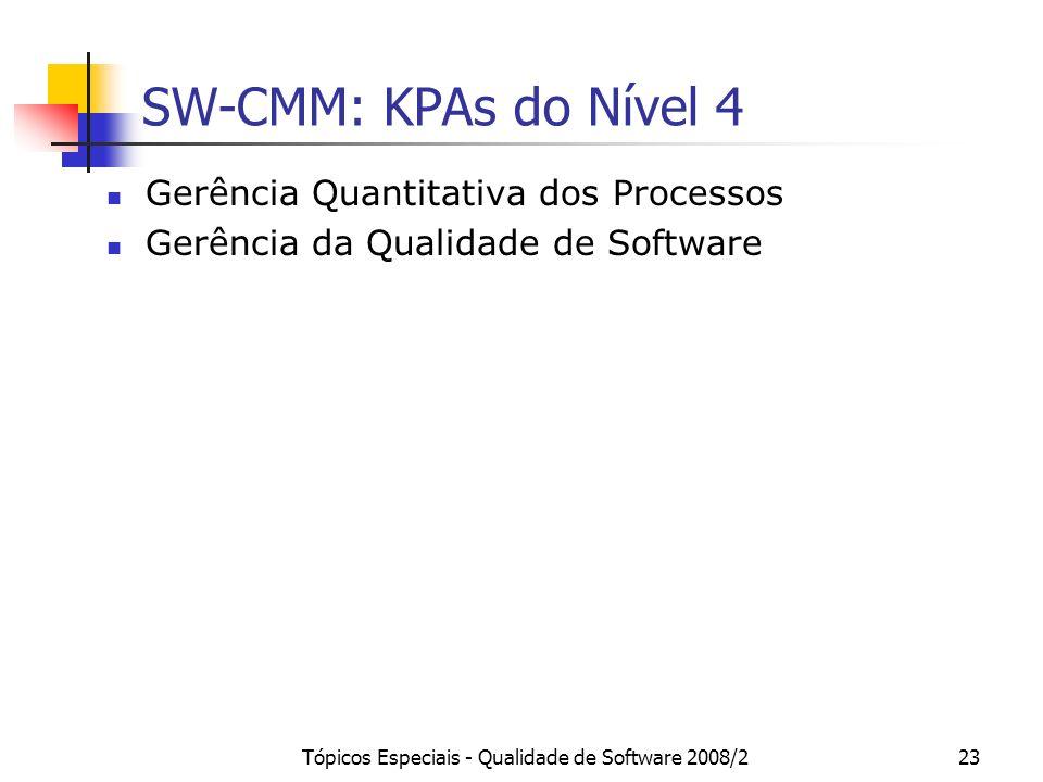 Tópicos Especiais - Qualidade de Software 2008/223 SW-CMM: KPAs do Nível 4 Gerência Quantitativa dos Processos Gerência da Qualidade de Software