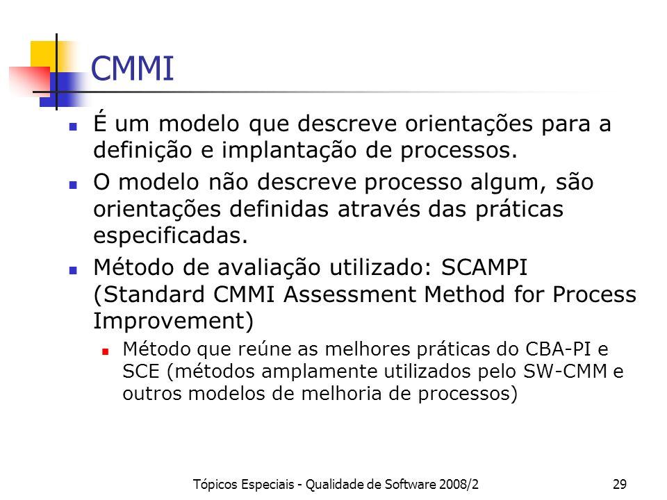 Tópicos Especiais - Qualidade de Software 2008/229 CMMI É um modelo que descreve orientações para a definição e implantação de processos. O modelo não