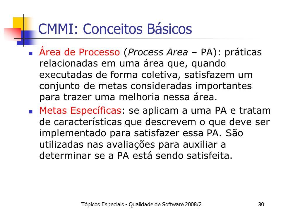 Tópicos Especiais - Qualidade de Software 2008/230 CMMI: Conceitos Básicos Área de Processo (Process Area – PA): práticas relacionadas em uma área que
