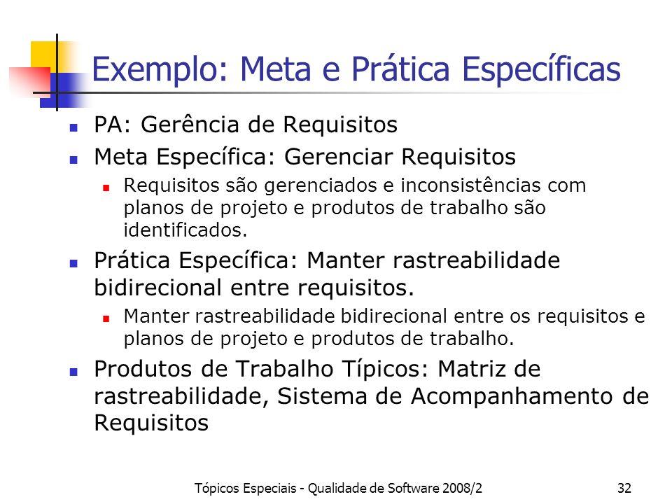 Tópicos Especiais - Qualidade de Software 2008/232 Exemplo: Meta e Prática Específicas PA: Gerência de Requisitos Meta Específica: Gerenciar Requisito
