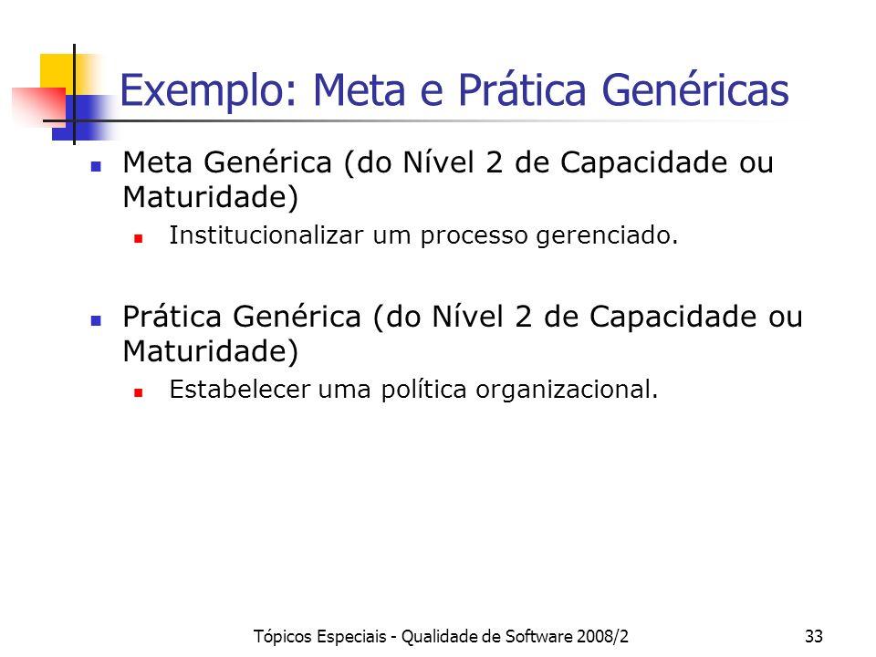 Tópicos Especiais - Qualidade de Software 2008/233 Exemplo: Meta e Prática Genéricas Meta Genérica (do Nível 2 de Capacidade ou Maturidade) Institucio