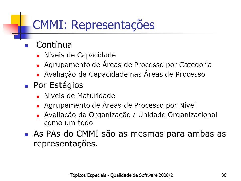 Tópicos Especiais - Qualidade de Software 2008/236 CMMI: Representações Contínua Níveis de Capacidade Agrupamento de Áreas de Processo por Categoria A
