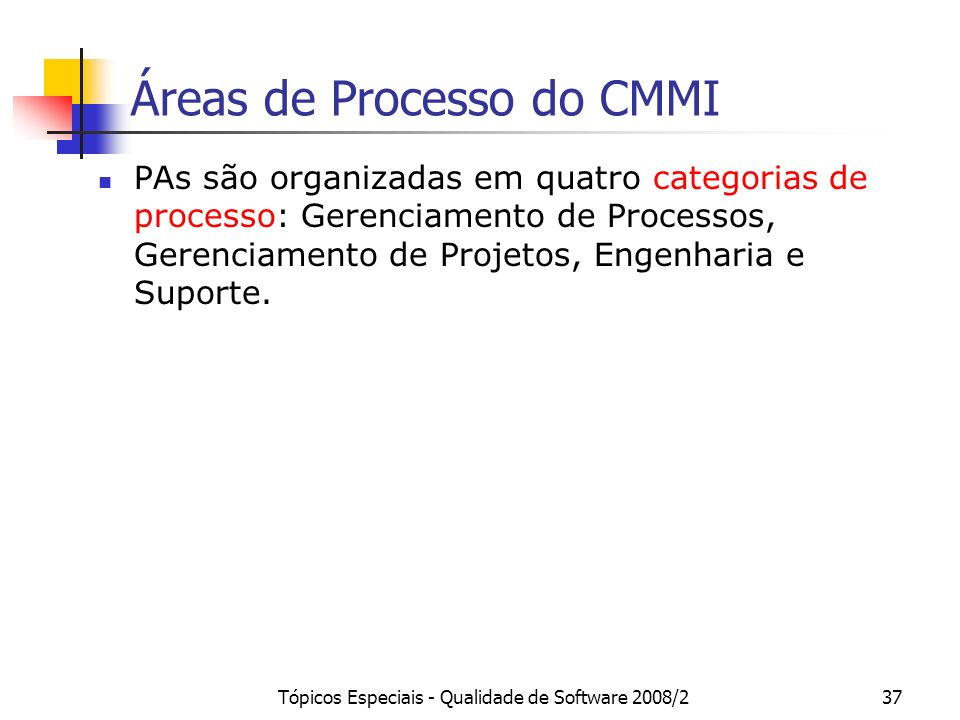 Tópicos Especiais - Qualidade de Software 2008/237 Áreas de Processo do CMMI PAs são organizadas em quatro categorias de processo: Gerenciamento de Pr