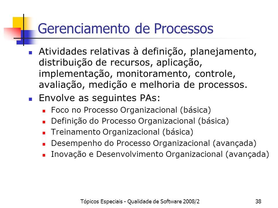 Tópicos Especiais - Qualidade de Software 2008/238 Gerenciamento de Processos Atividades relativas à definição, planejamento, distribuição de recursos