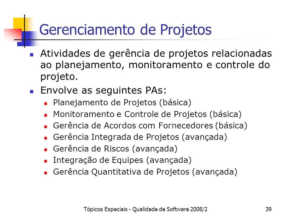 Tópicos Especiais - Qualidade de Software 2008/239 Gerenciamento de Projetos Atividades de gerência de projetos relacionadas ao planejamento, monitora