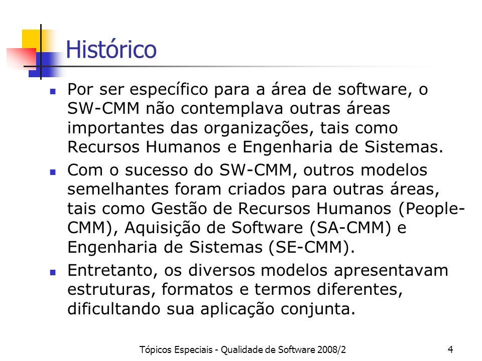 Tópicos Especiais - Qualidade de Software 2008/24 Histórico Por ser específico para a área de software, o SW-CMM não contemplava outras áreas importan