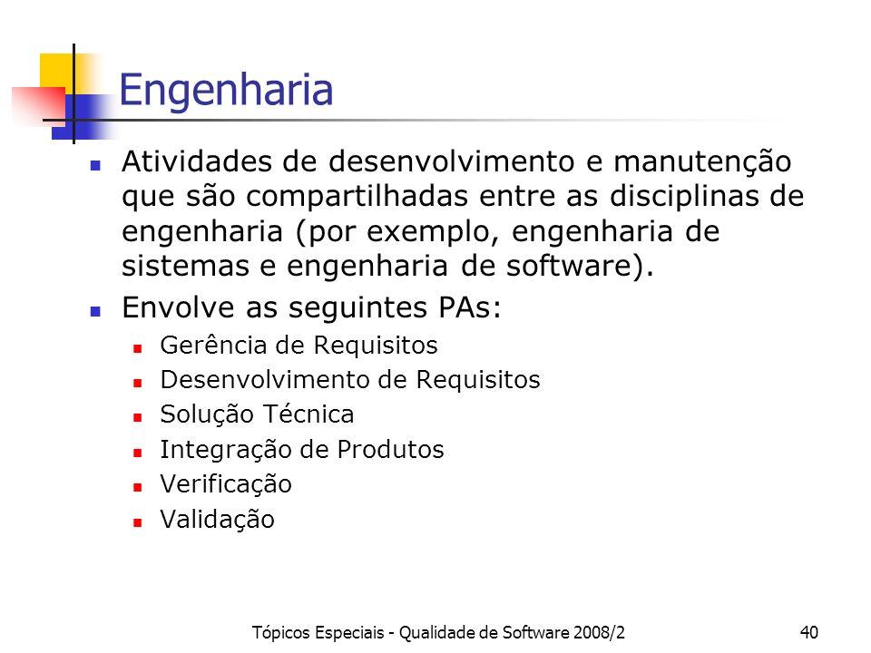 Tópicos Especiais - Qualidade de Software 2008/240 Engenharia Atividades de desenvolvimento e manutenção que são compartilhadas entre as disciplinas d