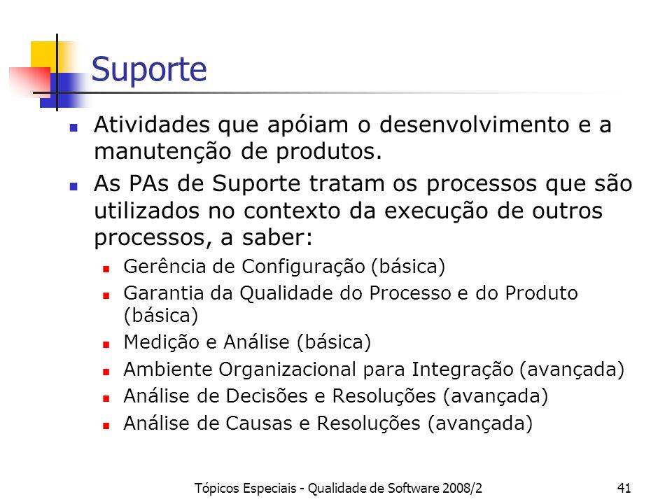 Tópicos Especiais - Qualidade de Software 2008/241 Suporte Atividades que apóiam o desenvolvimento e a manutenção de produtos. As PAs de Suporte trata
