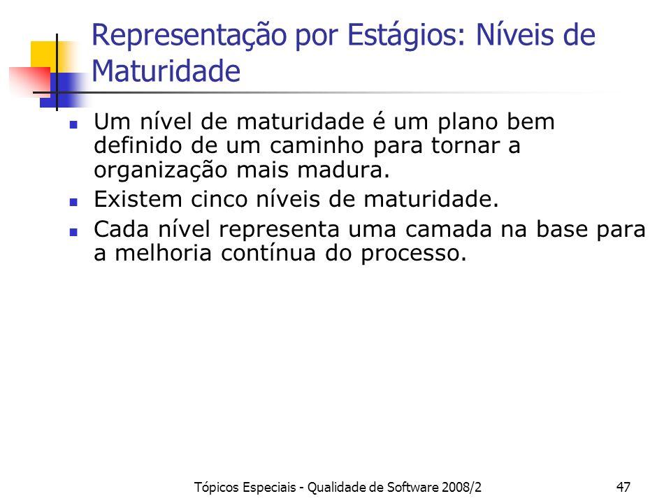 Tópicos Especiais - Qualidade de Software 2008/247 Representação por Estágios: Níveis de Maturidade Um nível de maturidade é um plano bem definido de