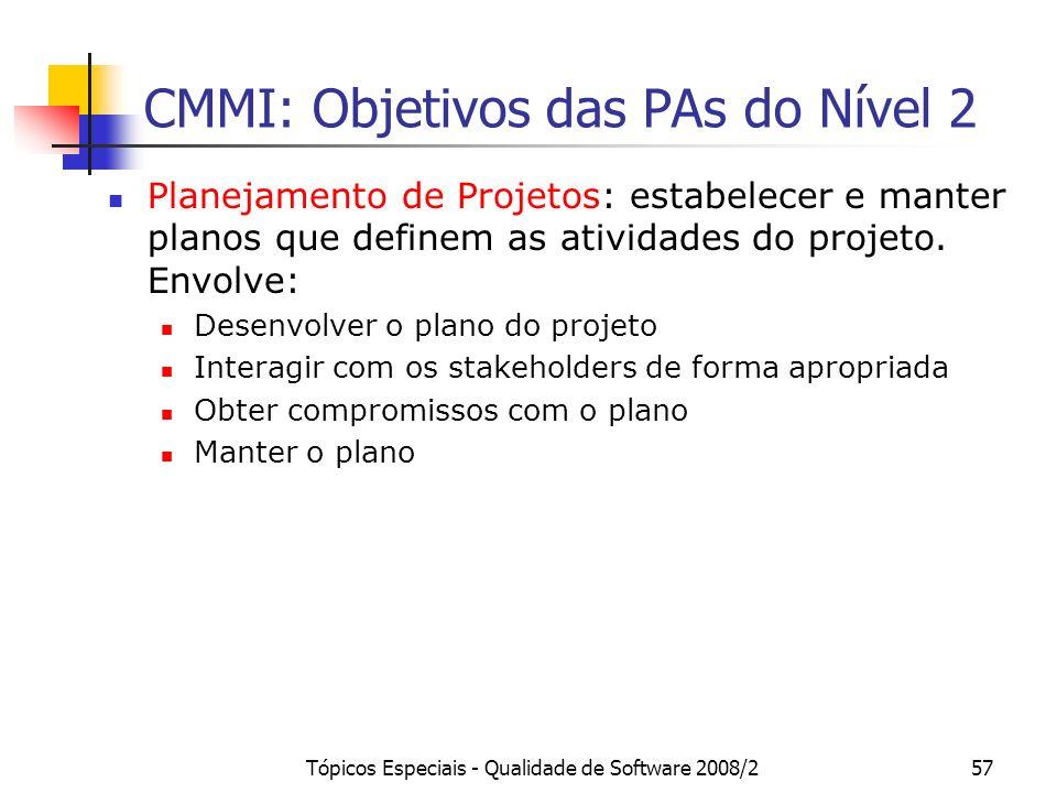 Tópicos Especiais - Qualidade de Software 2008/257 CMMI: Objetivos das PAs do Nível 2 Planejamento de Projetos: estabelecer e manter planos que define