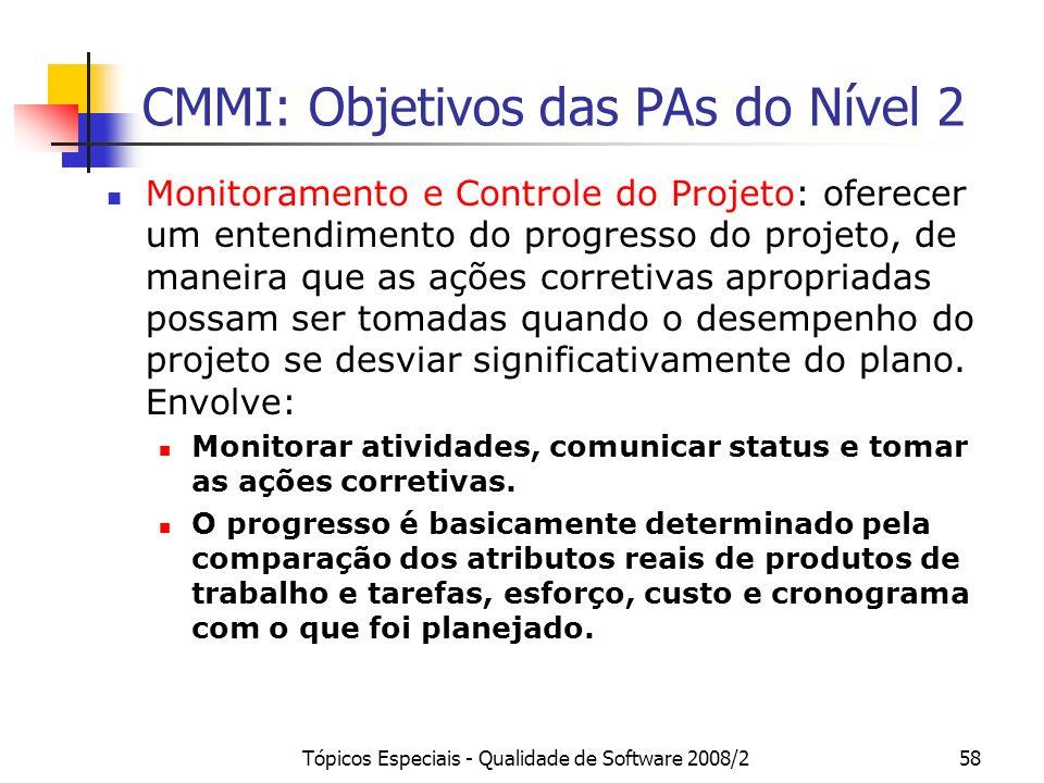 Tópicos Especiais - Qualidade de Software 2008/258 CMMI: Objetivos das PAs do Nível 2 Monitoramento e Controle do Projeto: oferecer um entendimento do