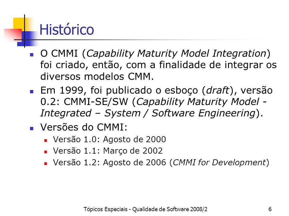 Tópicos Especiais - Qualidade de Software 2008/27 SW-CMM Modelo de Maturidade de Capacitação para Software Objetivo Principal: guiar organizações a conhecerem e melhorarem seus processos de software.