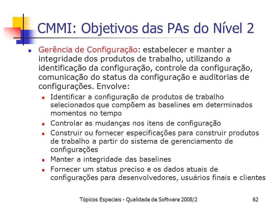 Tópicos Especiais - Qualidade de Software 2008/262 CMMI: Objetivos das PAs do Nível 2 Gerência de Configuração: estabelecer e manter a integridade dos