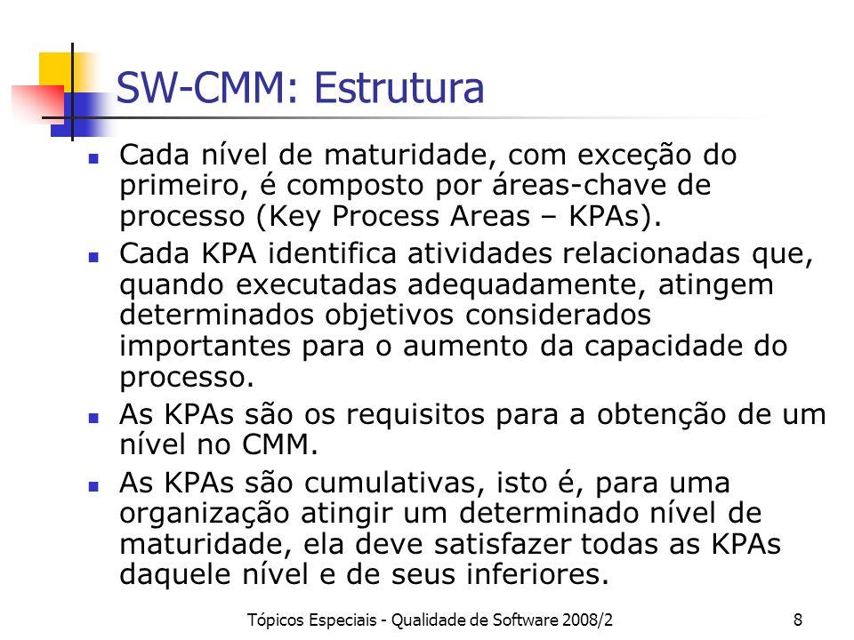 Tópicos Especiais - Qualidade de Software 2008/28 SW-CMM: Estrutura Cada nível de maturidade, com exceção do primeiro, é composto por áreas-chave de p