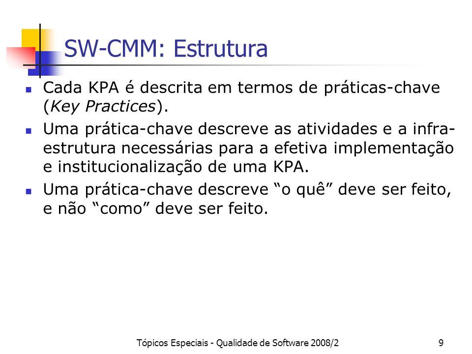 Tópicos Especiais - Qualidade de Software 2008/29 SW-CMM: Estrutura Cada KPA é descrita em termos de práticas-chave (Key Practices). Uma prática-chave