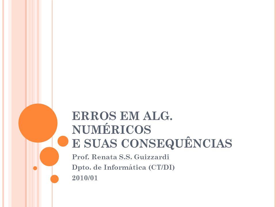 ERROS EM ALG. NUMÉRICOS E SUAS CONSEQUÊNCIAS Prof. Renata S.S. Guizzardi Dpto. de Informática (CT/DI) 2010/01