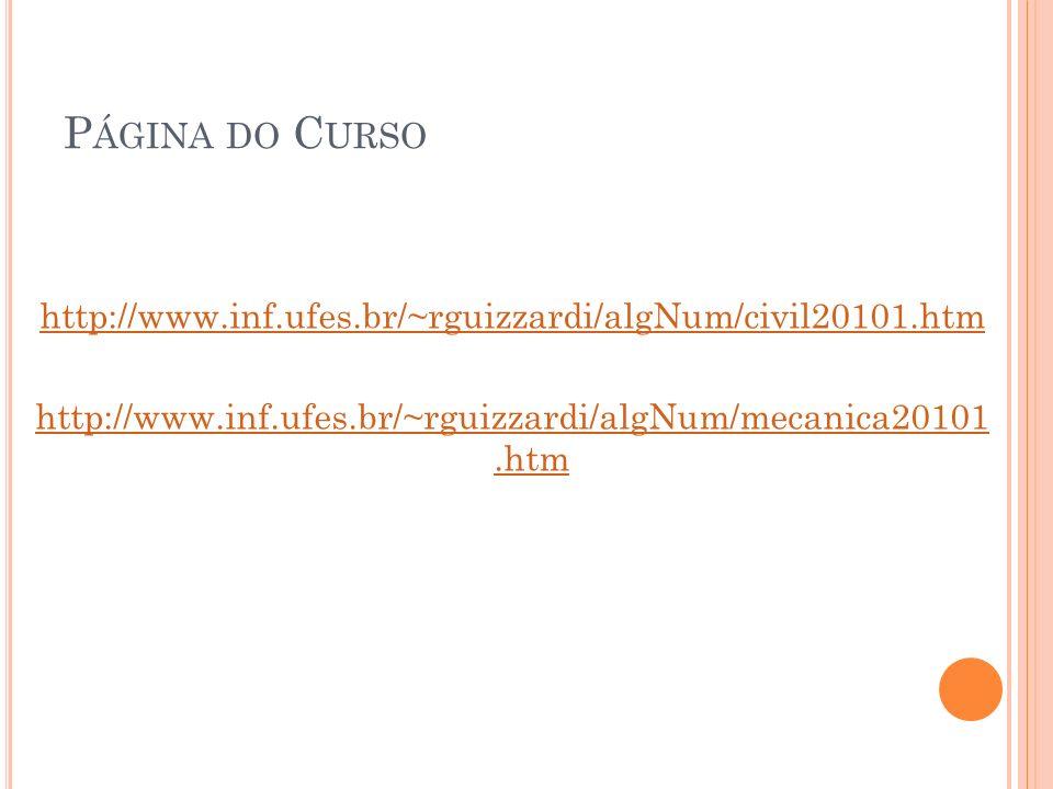 P ÁGINA DO C URSO http://www.inf.ufes.br/~rguizzardi/algNum/civil20101.htm http://www.inf.ufes.br/~rguizzardi/algNum/mecanica20101.htm