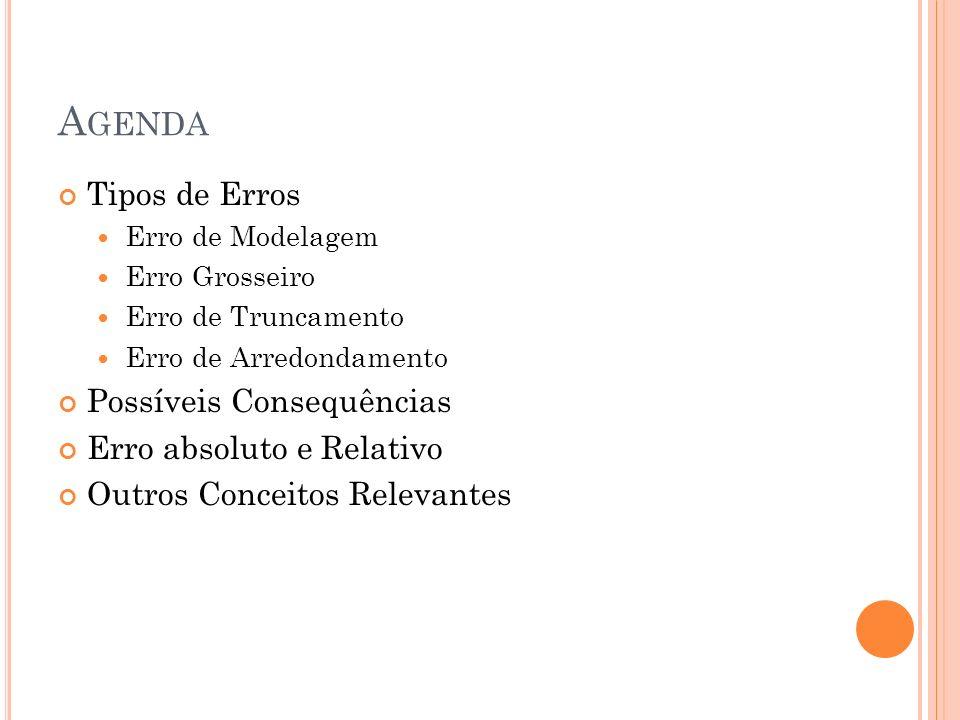 A GENDA Tipos de Erros Erro de Modelagem Erro Grosseiro Erro de Truncamento Erro de Arredondamento Possíveis Consequências Erro absoluto e Relativo Ou