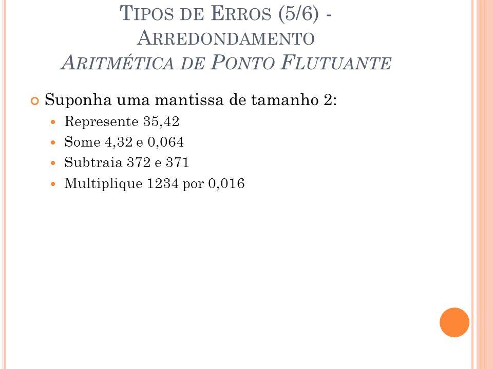T IPOS DE E RROS (5/6) - A RREDONDAMENTO A RITMÉTICA DE P ONTO F LUTUANTE Suponha uma mantissa de tamanho 2: Represente 35,42 Some 4,32 e 0,064 Subtra