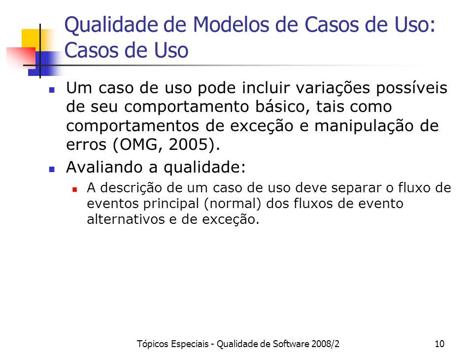 Tópicos Especiais - Qualidade de Software 2008/210 Qualidade de Modelos de Casos de Uso: Casos de Uso Um caso de uso pode incluir variações possíveis