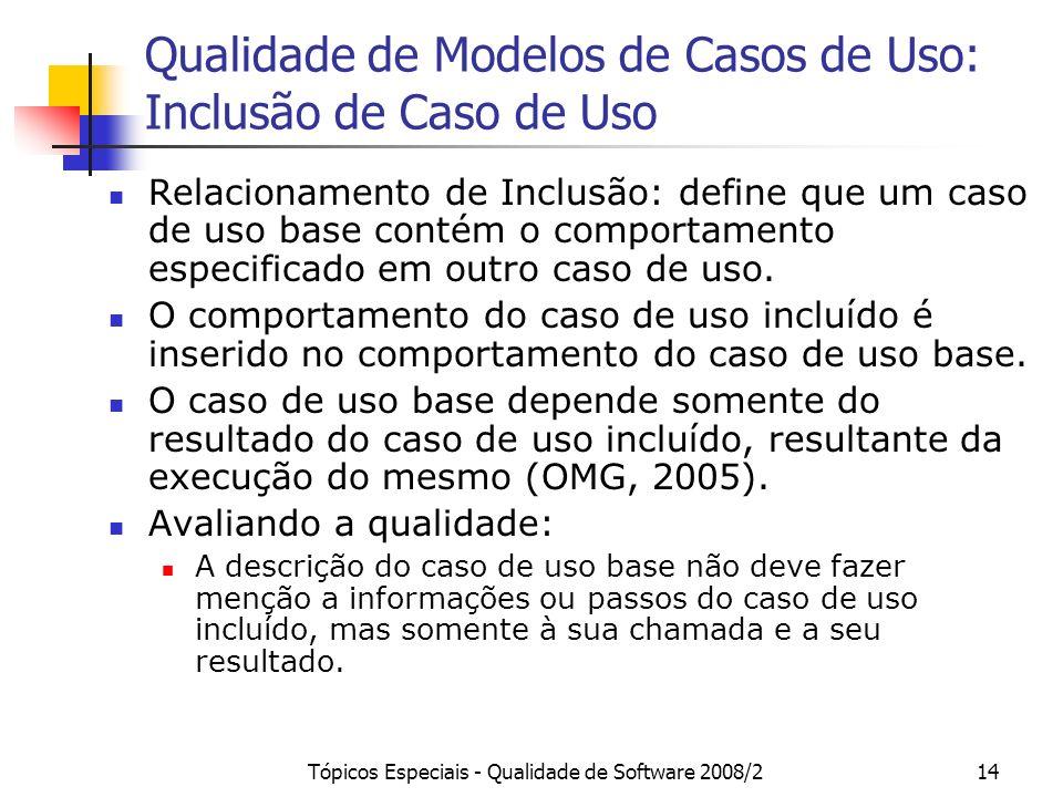 Tópicos Especiais - Qualidade de Software 2008/214 Qualidade de Modelos de Casos de Uso: Inclusão de Caso de Uso Relacionamento de Inclusão: define qu