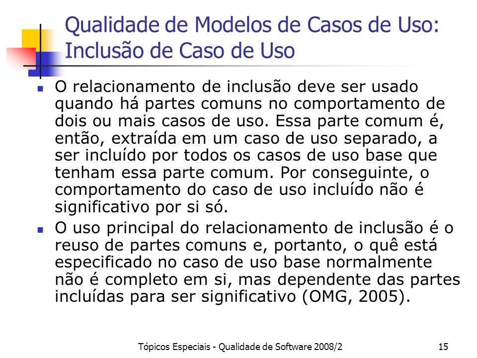 Tópicos Especiais - Qualidade de Software 2008/215 Qualidade de Modelos de Casos de Uso: Inclusão de Caso de Uso O relacionamento de inclusão deve ser