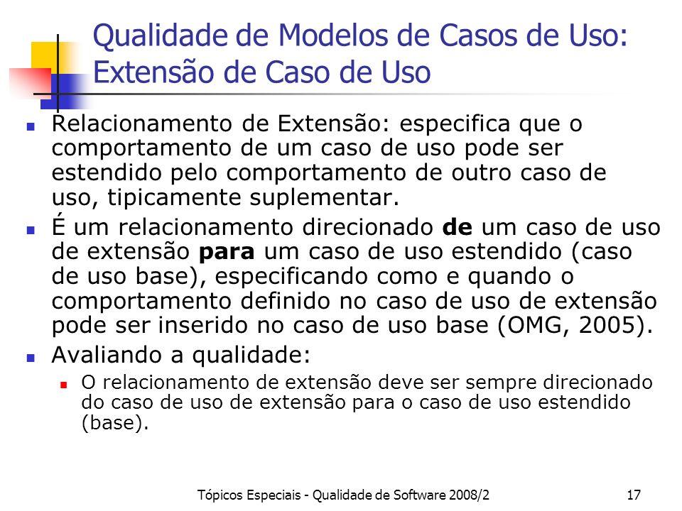 Tópicos Especiais - Qualidade de Software 2008/217 Qualidade de Modelos de Casos de Uso: Extensão de Caso de Uso Relacionamento de Extensão: especific
