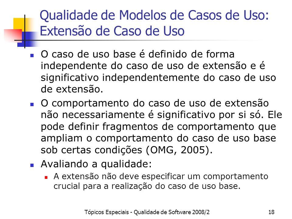 Tópicos Especiais - Qualidade de Software 2008/218 Qualidade de Modelos de Casos de Uso: Extensão de Caso de Uso O caso de uso base é definido de form