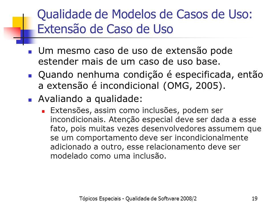 Tópicos Especiais - Qualidade de Software 2008/219 Qualidade de Modelos de Casos de Uso: Extensão de Caso de Uso Um mesmo caso de uso de extensão pode