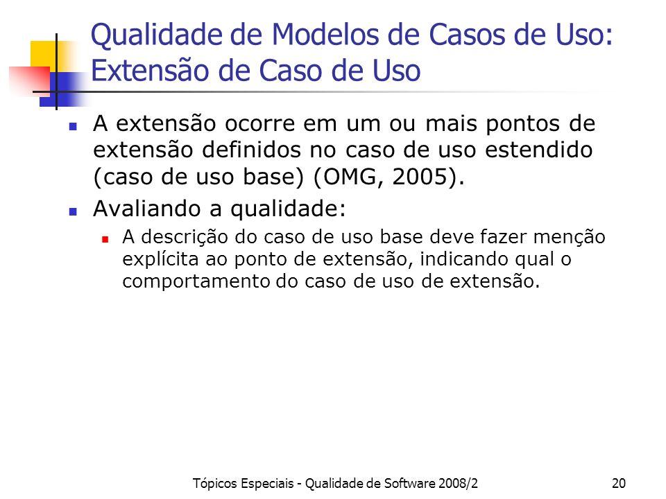 Tópicos Especiais - Qualidade de Software 2008/220 Qualidade de Modelos de Casos de Uso: Extensão de Caso de Uso A extensão ocorre em um ou mais ponto