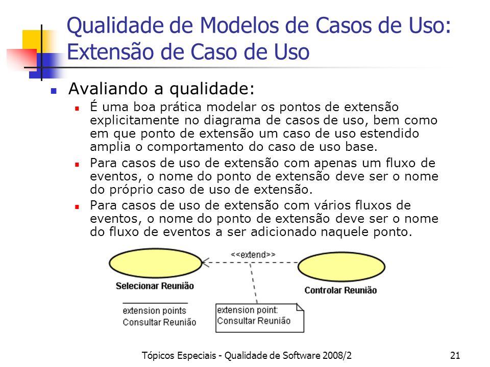 Tópicos Especiais - Qualidade de Software 2008/221 Qualidade de Modelos de Casos de Uso: Extensão de Caso de Uso Avaliando a qualidade: É uma boa prát