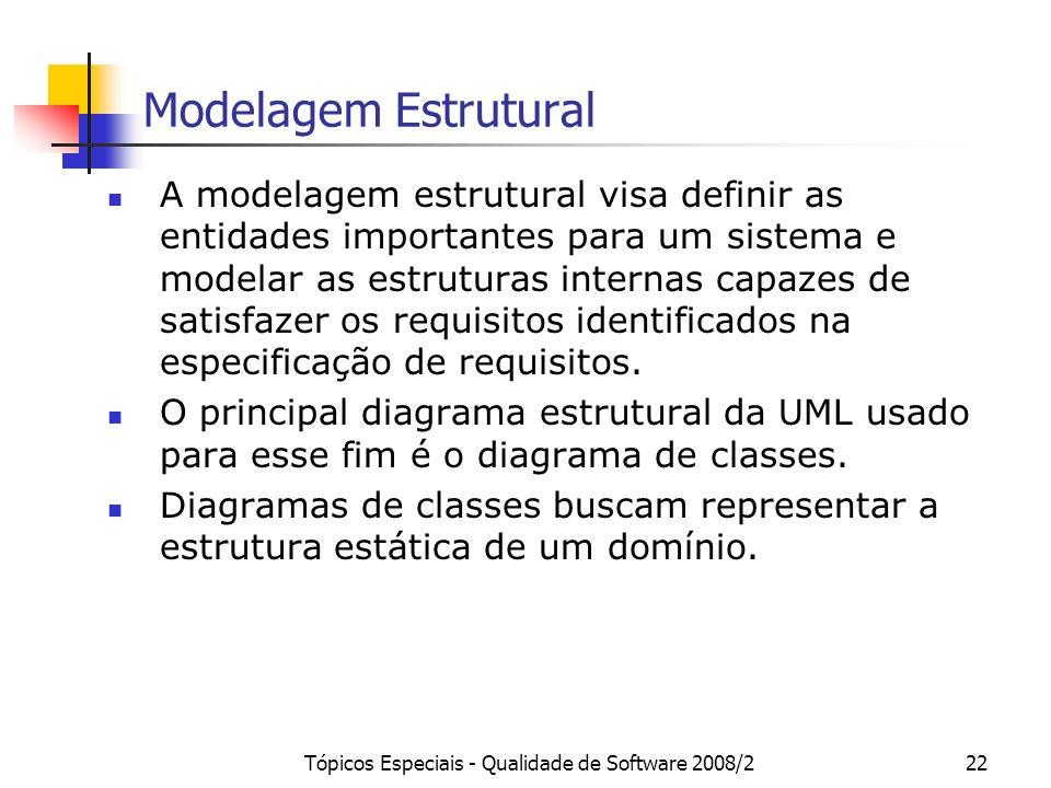 Tópicos Especiais - Qualidade de Software 2008/222 Modelagem Estrutural A modelagem estrutural visa definir as entidades importantes para um sistema e