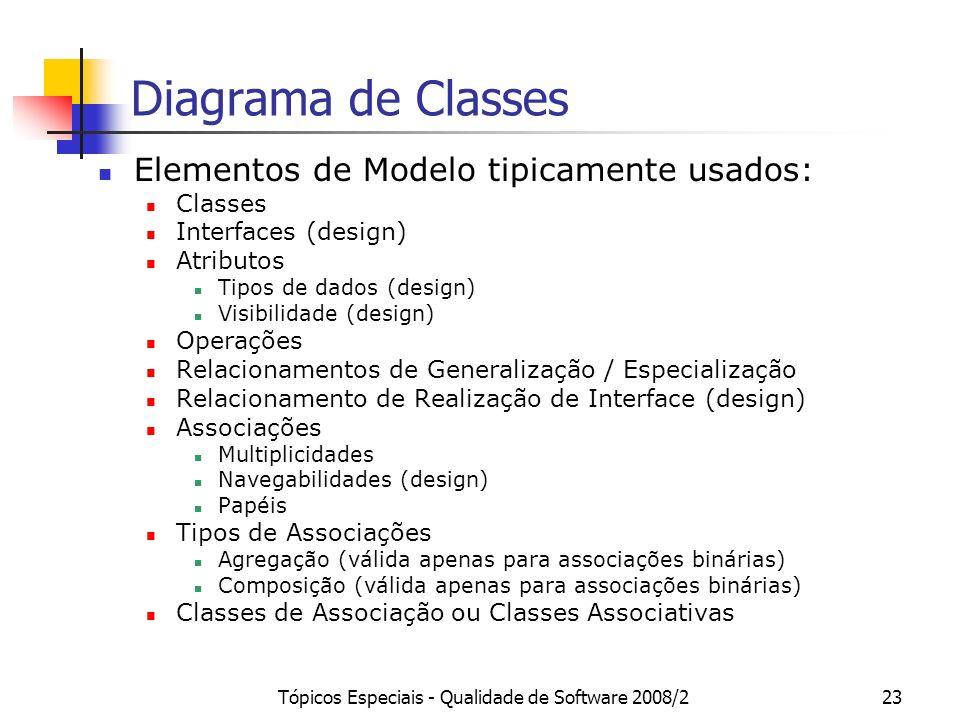 Tópicos Especiais - Qualidade de Software 2008/223 Diagrama de Classes Elementos de Modelo tipicamente usados: Classes Interfaces (design) Atributos T